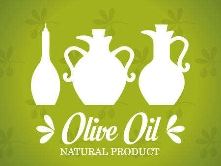 aceite de cocina: Dise�o Aceite de oliva sobre fondo verde, ilustraci�n vectorial.