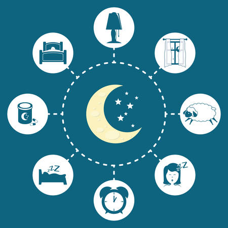 woman lying in bed: Sweet dreams design, vector illustration eps 10.