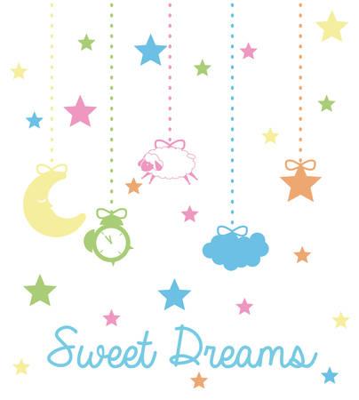 noche y luna: Diseño Dulces sueños, ilustración vectorial eps 10.