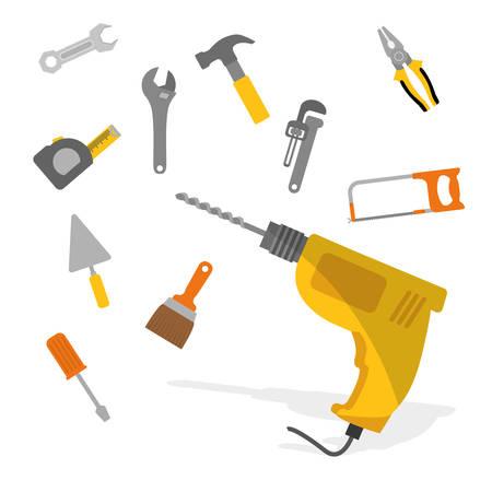 herramientas de mec�nica: Herramientas de dise�o digital, ilustraci�n vectorial eps 10.