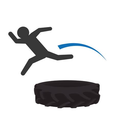 springboard: Jumping digital design, vector illustration 10 eps graphic