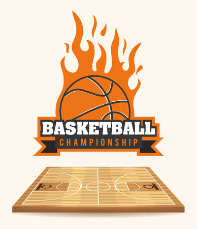basketball ball on fire: Basketball digital design, vector illustration 10 eps graphic Illustration