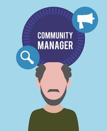 manager: Community Manager digital design, vector illustration 10 eps graphic