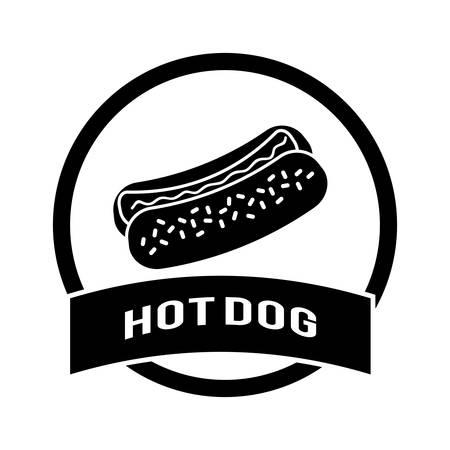 perro caliente: Comida rápida diseño digital, ilustración vectorial
