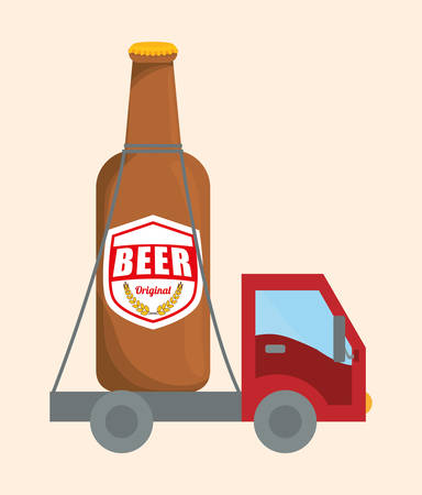 transport truck: Beer digital design, vector illustration