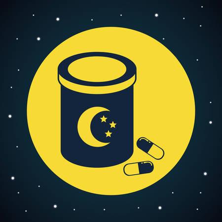 sleeping pills: Good Night digital design Illustration