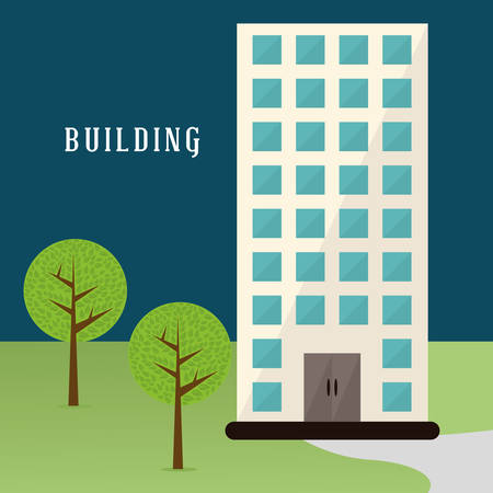 office building exterior: Building digital design Illustration
