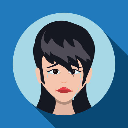 woman face: Cartoon emotions design, vector illustration eps 10. Illustration