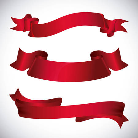 red ribbon bow: Decorative ribbon design, vector illustration eps 10.