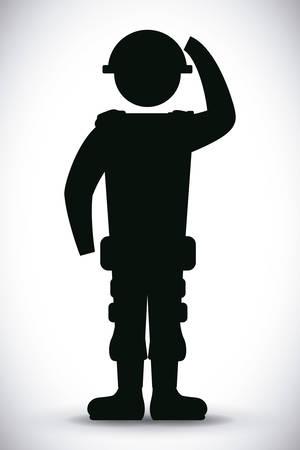 silueta masculina: Las fuerzas militares de diseño, ilustración vectorial eps 10.