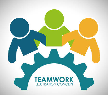 team cooperation: Teamwork digital design, vector illustration 10 eps graphic Illustration