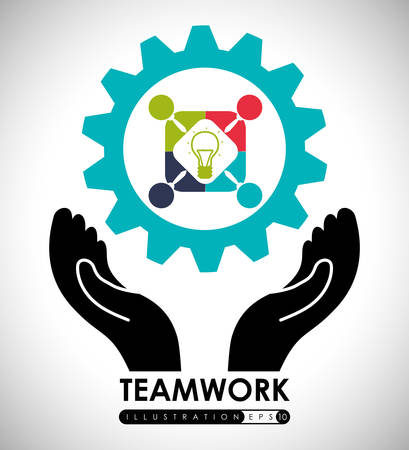 working together: Teamwork digital design, vector illustration 10 eps graphic Illustration
