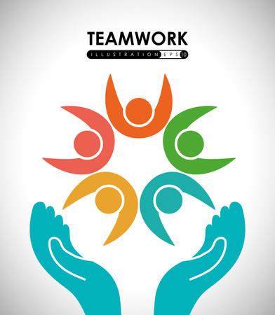 employee development: Teamwork digital design, vector illustration 10 eps graphic Illustration