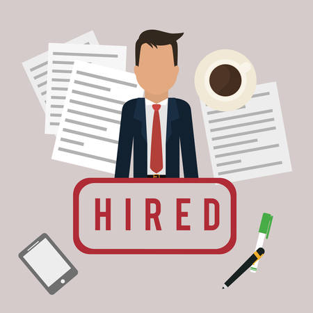 hired: Human resources digital design, vector illustration 10 eps graphic