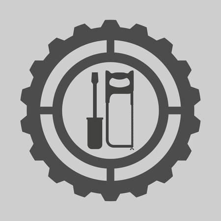 warning saw: Tools digital design, vector illustration 10 eps graphic
