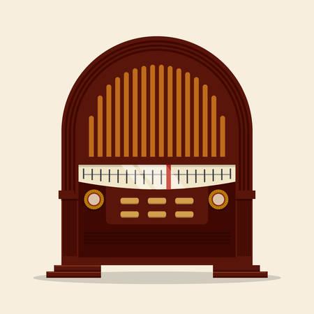 equipo de sonido: Diseño de radio vintage, ilustración vectorial eps 10.