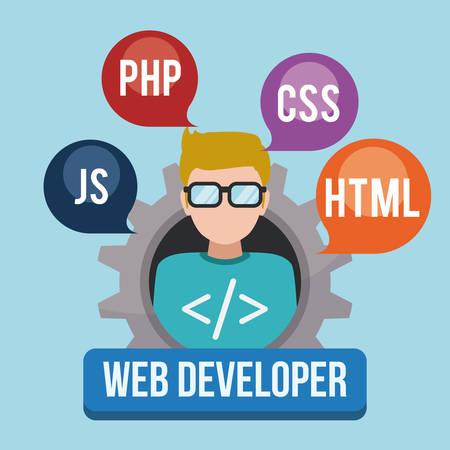 웹 개발자 디자인, 벡터 그림 eps 10.