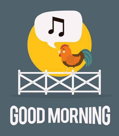 rooster and morning sun: Farm fresh design, vector illustration eps 10.