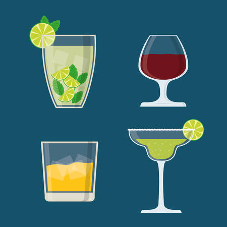cocktail glasses: Drinks digital design, vector illustration eps 10.