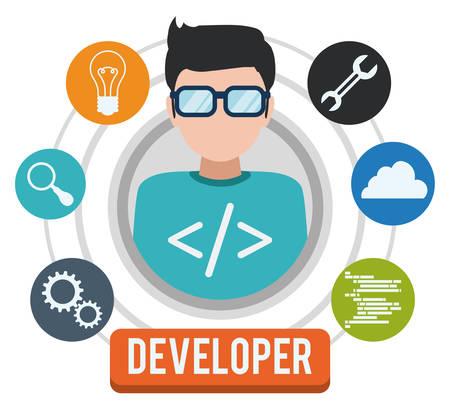Web developer design, vector illustration eps 10. Vettoriali