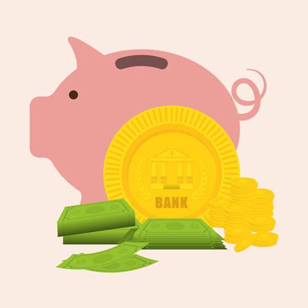 Piggy diseño como icono de ahorro de dinero, ilustración vectorial eps 10 gráfico