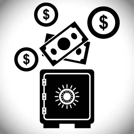 strongbox: strongbox with money design, vector illustration 10 eps graphic