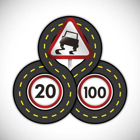rules of road: limit of km design, vector illustration 10 eps graphic