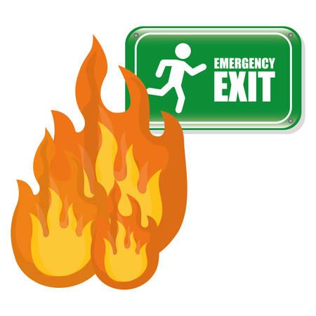 evacuation equipment: Emergency exit digital design, vector illustration 10 eps graphic