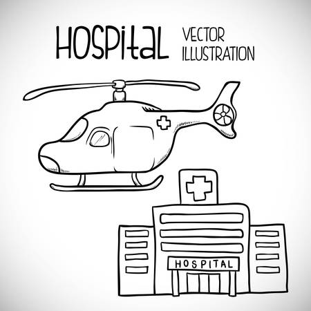 hospital icon: Hospital icon designed  in a sketch way, vector illustration 10 eps graphic