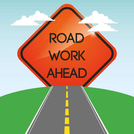 work ahead: road work ahead design, vector illustration 10 eps graphic
