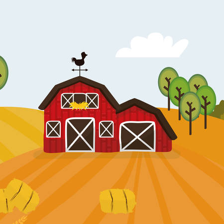 stables: Rural lifestyle concept, farm icons, vector illustration