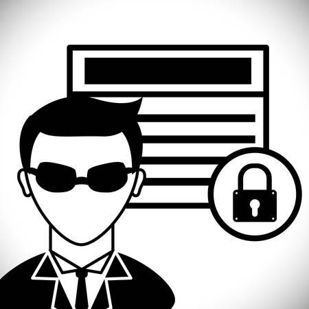 warning system: Securty system concept, warning icons design, vector illustration  Illustration