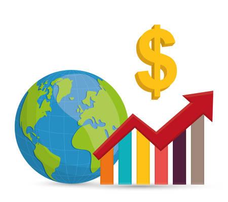 cash: Negocios, las ganancias de dinero y la econom�a global, ilustraci�n vectorial
