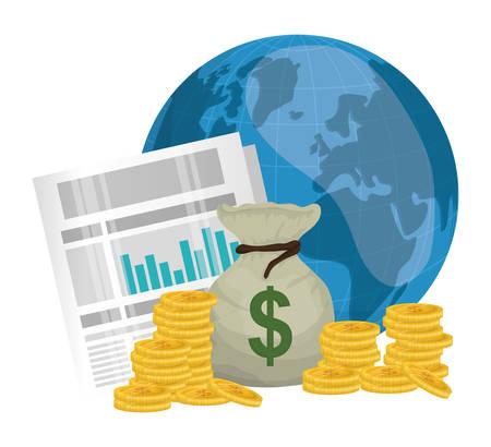 economia: Negocios, las ganancias de dinero y la economía global, ilustración vectorial