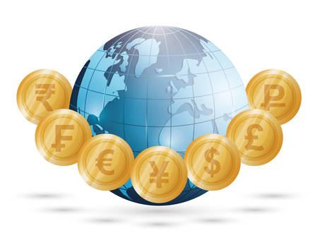 rupee: Business, money profits and global economy, vector illustration