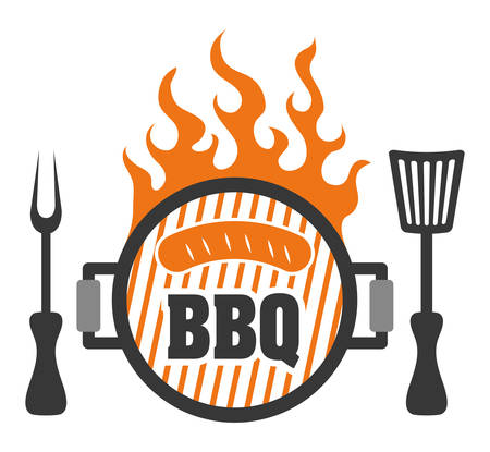 bbq: Sausage barbecue food design, vector illustration