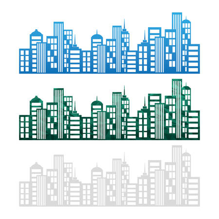 edifices: Real estate edifices and residential towers on cities, vector illustration
