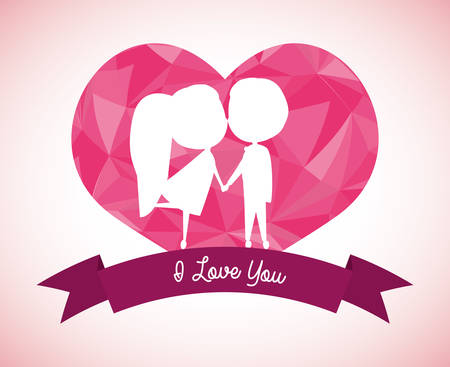 fall in love: love concept with heart and cartoon couple design, vector illustration 10 eps graphic.