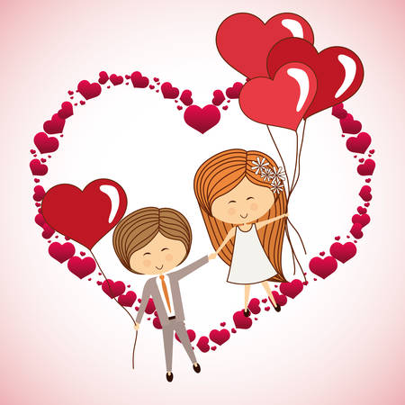 fall in love: love concept with heart and cartoon couple design, vector illustration