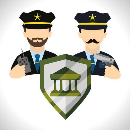 guardia de seguridad: Concepto de sistema de seguridad con el dise�o de los iconos de advertencia, ilustraci�n vectorial eps 10 gr�fico.