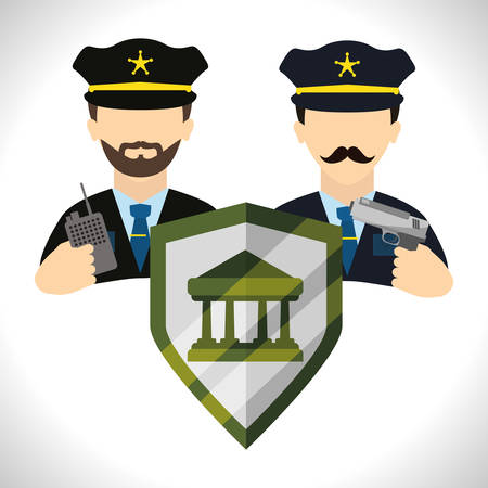 guard: Security System concept with warning icons design, vector illustration 10 eps graphic.