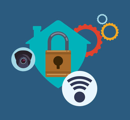 dangerous ideas: Security System concept with warning icons design, vector illustration 10 eps graphic.