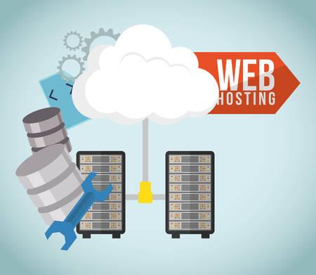 Web-Hosting-Konzept mit Cloud Computing icons Design, Vektor-Illustration 10 EPS-Grafik.