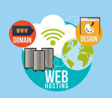 webhosting concept met cloud computing iconen ontwerp, vector illustratie 10 eps grafische.