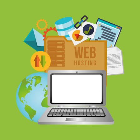 web service: web hosting concept with cloud computing icons design, vector illustration 10 eps graphic.