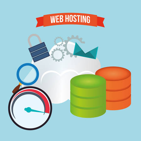 secured: web hosting concept with cloud computing icons design, vector illustration 10 eps graphic.