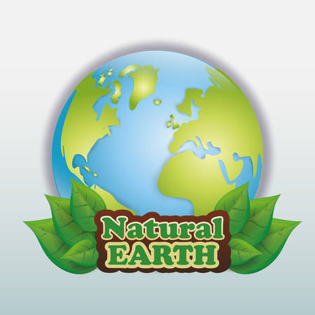 Planet  and ecology over white and flat background design, vector illustration  graphic.