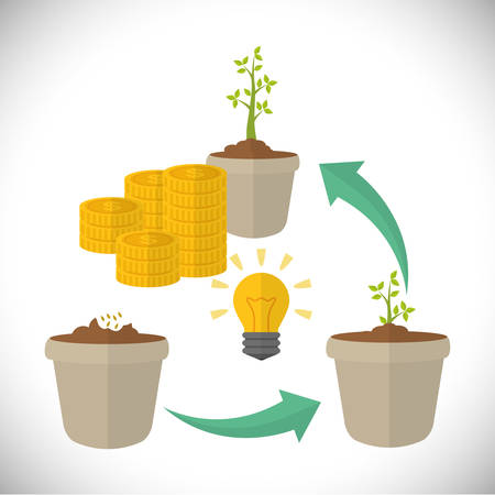financial growth: Financial Growth concept and money  icons design, vector illustration  graphic.