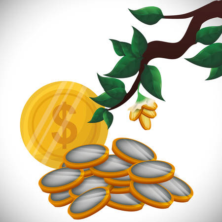 money icons: Financial Growth concept and money  icons design, vector illustration   graphic. Illustration