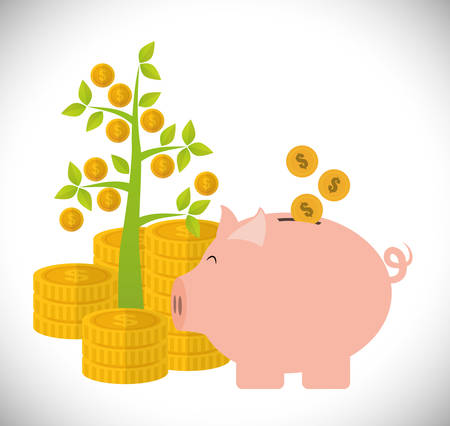 save money: Financial Growth concept and money  icons design, vector illustration  graphic.